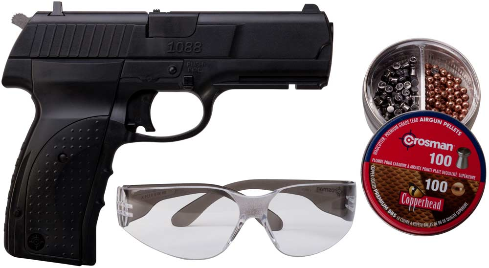 Пневматический пистолет Crosman 1088 BG Kit (пули + очки)